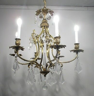 Antique Vintage Bronze French Chandelier Six Light Leafy Crystals Fancy Lamp