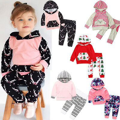 2PCS Newborn Infant Girl Hooded Tops T-Shirt Pullover+Pants Outfits Clothes 2018