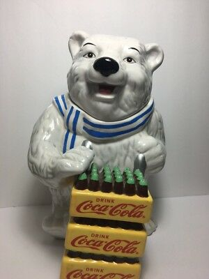 "GIBSON Coca-Cola Polar Bear Ceramic Cookie Jar Coke 2001 13"" Tall Delivery"