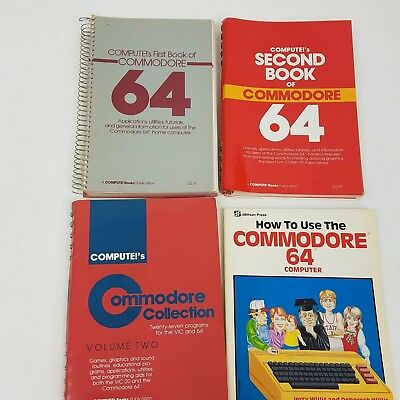 Lot of 4 Commodore 64 Books Compute!'s First, Second, Collection & Dilithium