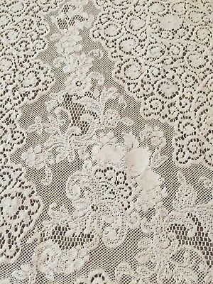 "Vintage Quaker Lace Tablecloth with Tag #7570. Exquisite! 60"" x 74"".  Ecru"