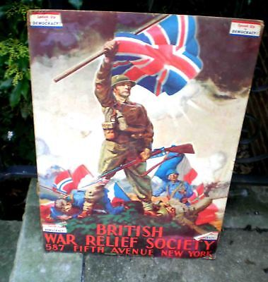 Org Ww2 Poster-British War Relief Society Nyc-Frank Reilly -Union Jack-Soldiers
