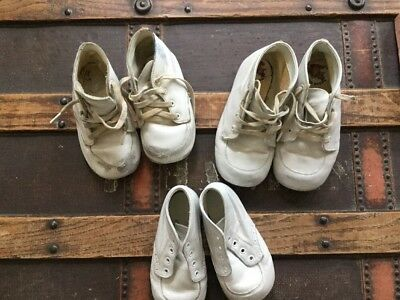 Lot of 3 Pair of Vintage Baby Shoes White Leather Buster Brown Chubby 1960s