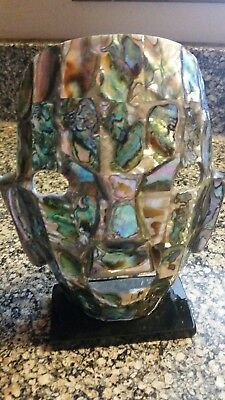 """MCM Aztec Myan Abalone Inlaid Shell Face Mask-Black Glass Stand- 7"""" Tall"""