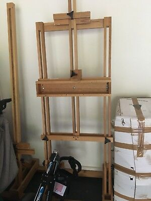 Large Studio Heavy Duty H-frame Artist Easel, Solid Timber - Baltic pine