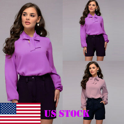 US NEW Women Long Sleeve Fashion Chiffon Baggy Ladies Tops Formal Loose T-Shirt