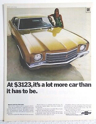 Vintage 1970 Chevy Chevrolet Monte Carlo Gold Car Print Ad Classic Art Poster