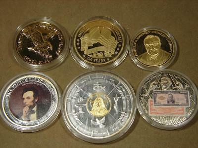 Lot Of 6 American Mint Silver Gold Layered Medals Civil War Lincoln Roosevelt