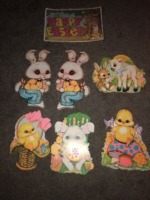 Lot Of Vintage Beistle EASTER Diecut cutouts Jointed EASTER BUNNY, DUCK, LAMB