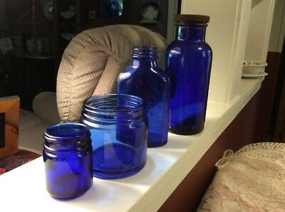 4 Vtg Cobalt Blue Medicine Glass Apothecary Bottle Jar Lot