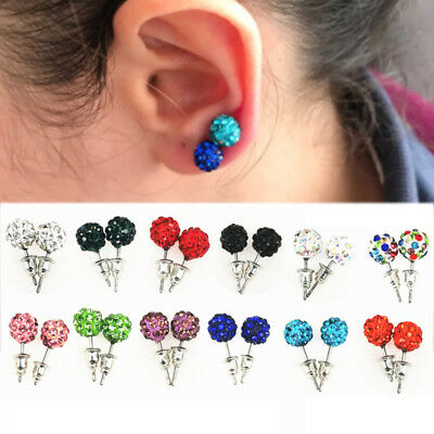 14 Pairs/Pack Crystal Micro Pave Disco Ball Stud Earrings Women Fashion Jewelry