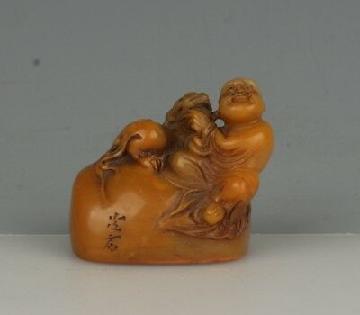Chinese Exquisite Hand-carved Lohan beast carving Shoushan Stone seal