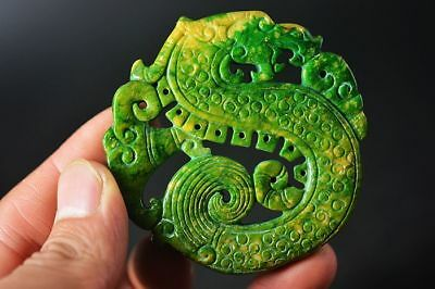 Exquisite Chinese Old Jade Carved Two-sided *dragon* Amulet Pendant   F34