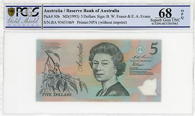 1993 Australia $5 Note Fraser/Evans First prefix Light Green Gem Unc 68 OPQ PCGS