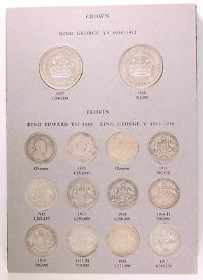 Australian Crown and Florin Set 1910 - 1963 Complete