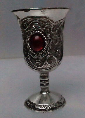 Old Decoration Handwork Tibet Silver Carved Flower Inlay Bead Pair Cup Very good