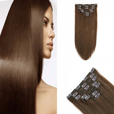 Full Head 14-20Inch Human Hair Clip In 7PCS Long Straight Hair Extensions 100g