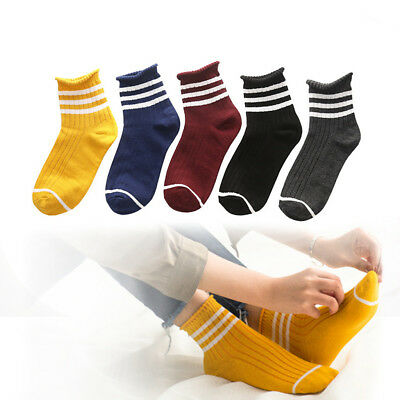 New Women Girls Classic Striped Cotton Short Ankle Socks Skateboard Sporty Funny
