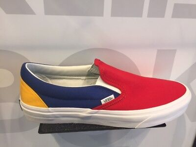 Vans Slip-On Yacht Club ColorBlocked Blue Red Yellow Green White Size 4-13 New