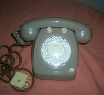 Telecom Rotary Dial Grey Office Telephone in full working order