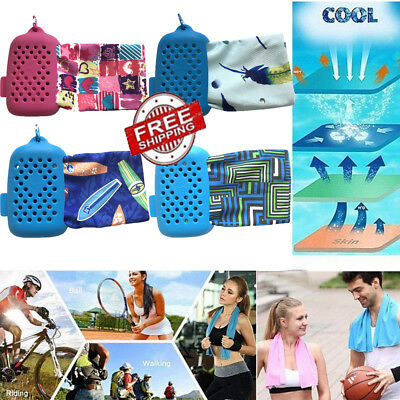Cooling Towel Instant Chill With Silicone Bottle for Outdoor Sports Gym+Box