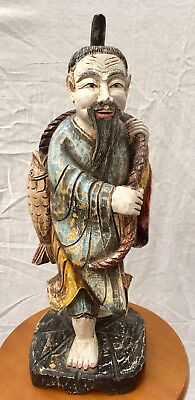 Vintage 52cm Chinese/Oriental Wooden Sculpture Of Fisherman P/UP ONLY LALOR 3075
