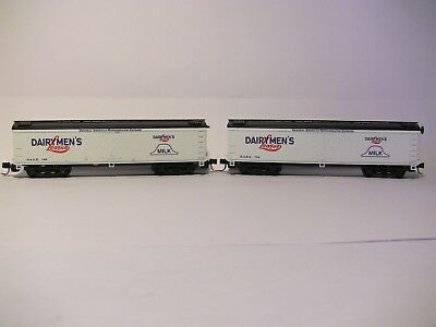 """N Scale - 2 ROUNDHOUSE x 50' Milk Tank Cars """"Dairymens League"""" with MTL coupling"""
