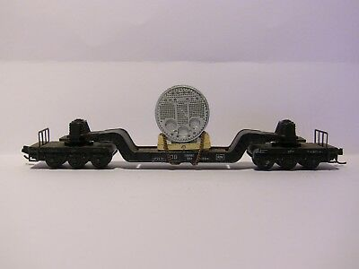 N Scale 1` x Six axle, drop centre wagon with boiler lading with MTL couplings