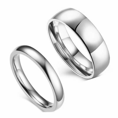 4mm/6mm Silver Polished Band for Men's Women's 316L Stainless Steel Couple Rings