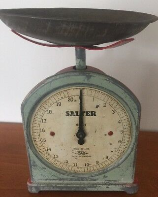 Salter antique Kitchen Bench Scales No 34 Made In England 20LB BY 1OZ WITH PAN