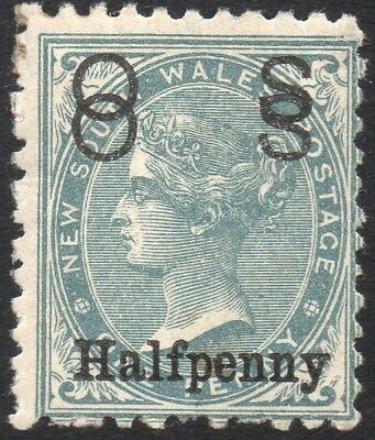 1892 NSW 1/2d on 1d Grey OS (double?) overprint P11x12 - Unusual