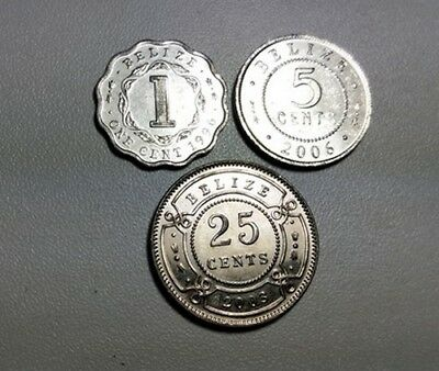 Belize lot of 3 different silver coloured coins 1 cent , 5 & 25 cents