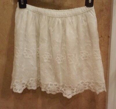 NWT, ABERCROMBIE KIDS GIRLS White LACE Lined SKIRT LARGE