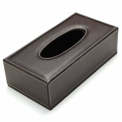 3X(Portable Leather Rectangular Tissue Cover Box Holders Case Pumping Paper O5L7