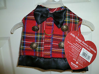 """jolly Doggy"" Tartan,dog Costume /  Harness Size Medium (Bnwt)"