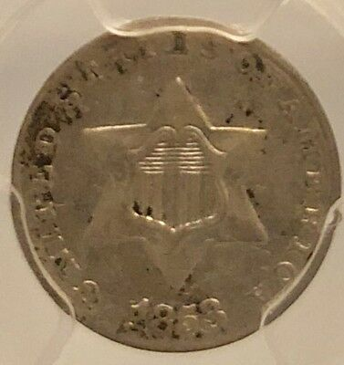 1853/P 3c Three Cent Silver PCGS AU53