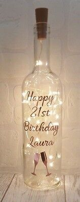 Personalised Birthday gift LED Light up Bottle 16th 18th 21st 30th 40th 50th Mum