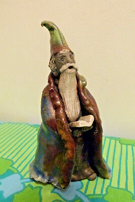 Australian Pottery Wizard Statue with Long White Beard - Tricia Sullens