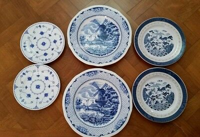 Lovely Mixed Lot  - Blue & White Plates - Watermill / Japanese Scene / Florals