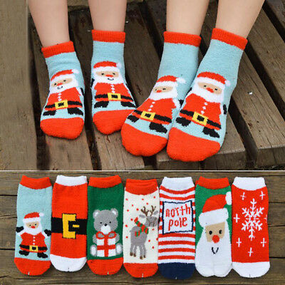 Christmas Socks Boy Girl Winter Socks Coral Fleece Sock Hosiery Kids Sleep Socks