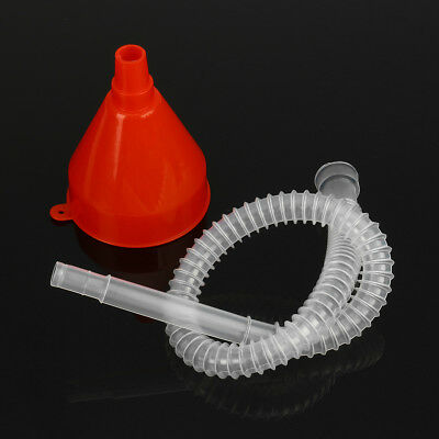 Car Vehicle Van Cool Filling Plastic Fuel Oil Gas Petrol Funnel + Soft Pipe