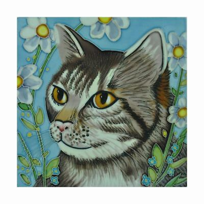 Toby Cat by Judith Yates 8x8 Decorative Ceramic Tile Wall Art Plaque