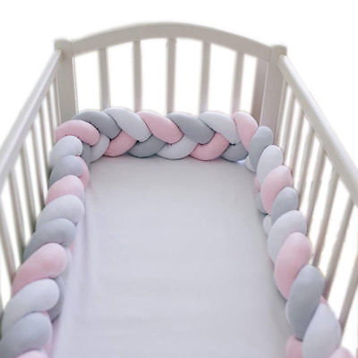 2/3M Baby Infant Plush Crib Bumper Bed Bedding Cot Braid Pillow Pad Protector