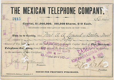 THE MEXICAN TELEPHONE COMPANY The State of New York Aktie 1883  USA MEXIKO ( 618