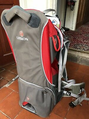 LittleLife Cross Country s2 baby carrier in red and gre with sunshade
