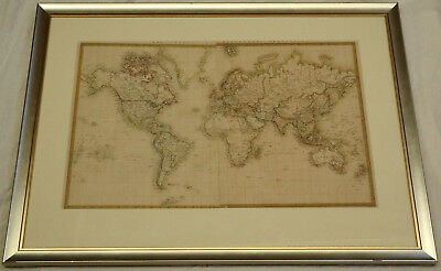 J & C Walker London 1859 Antique Map of the World on Mercators Projection Framed