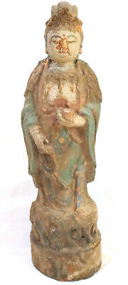 Antique Guanyin Carved Wood Polychrome Figure Statue - Chinese Mid Qing Dynasty?