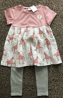 Next 2 Pc Pink/grey Unicorn Dress & Leggings Set  Age  3 ~  4 Yrs Bnwt