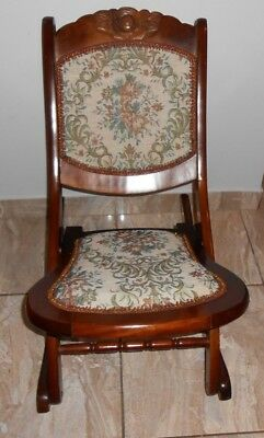 Beautiful Wood Folding Rocker Rocking Chair Tapestry VictorianVintage Antique