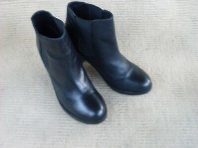 Exc. Asos Black Leather Elastic Sided  Ankle Boots. Sz  8.